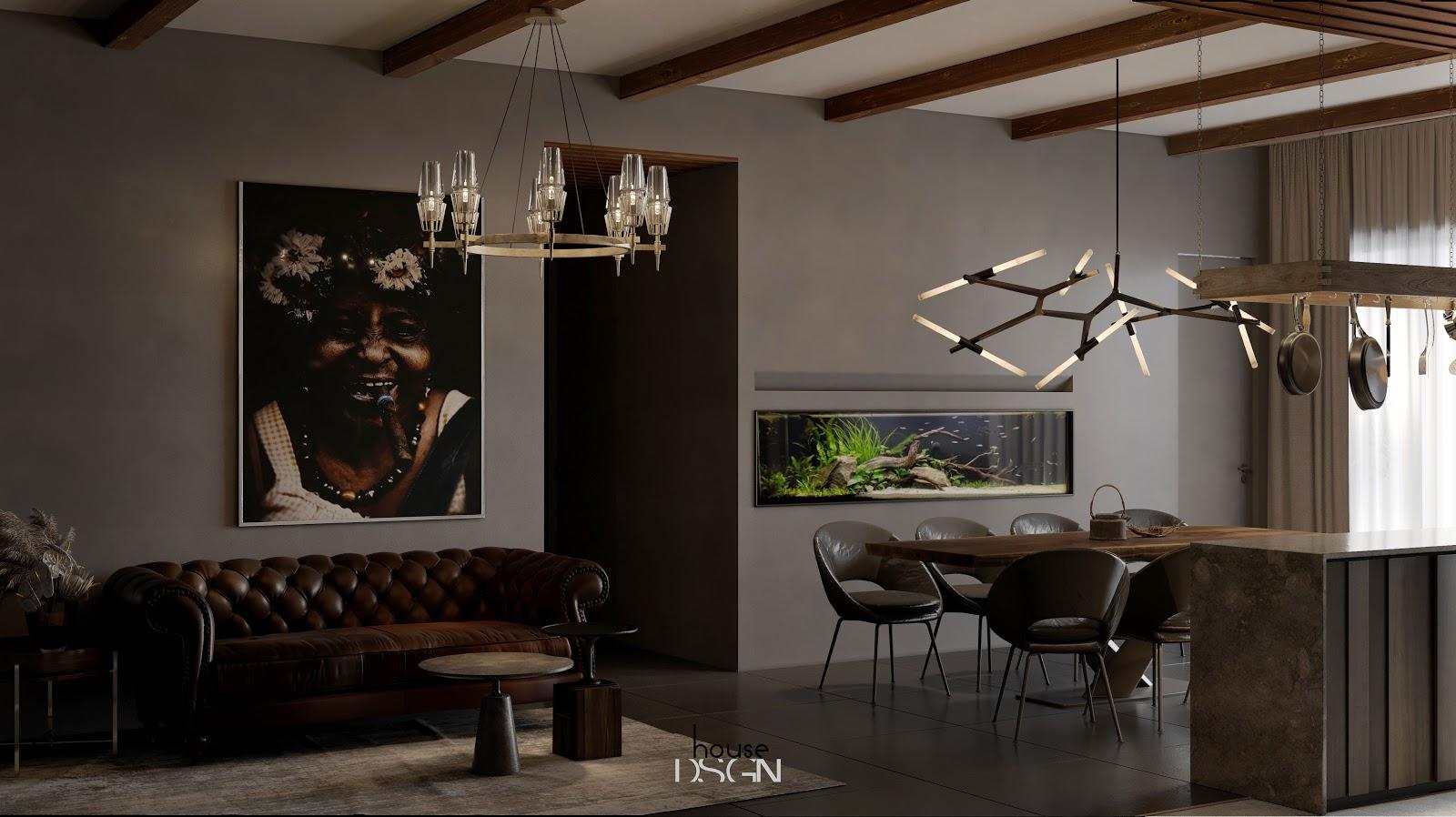 thiết kế nội thất phòng khách và bếp liền kề