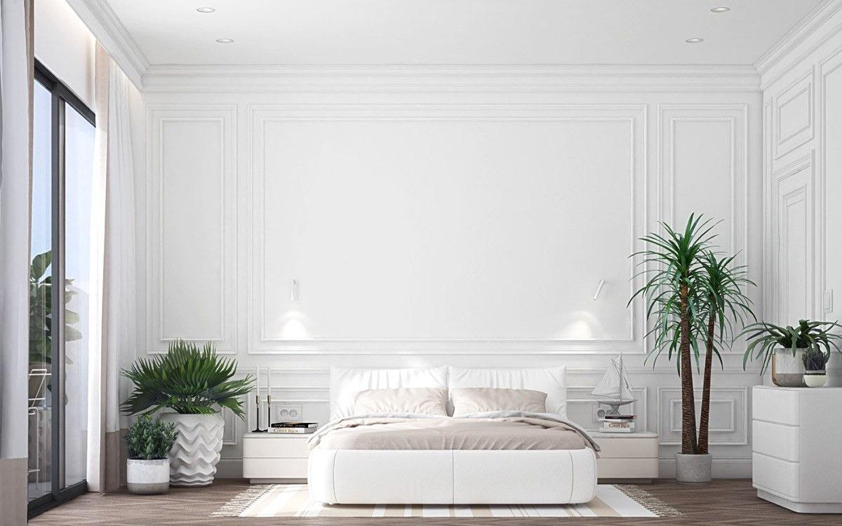 Thiết kế phòng ngủ khách sạn tông trắng