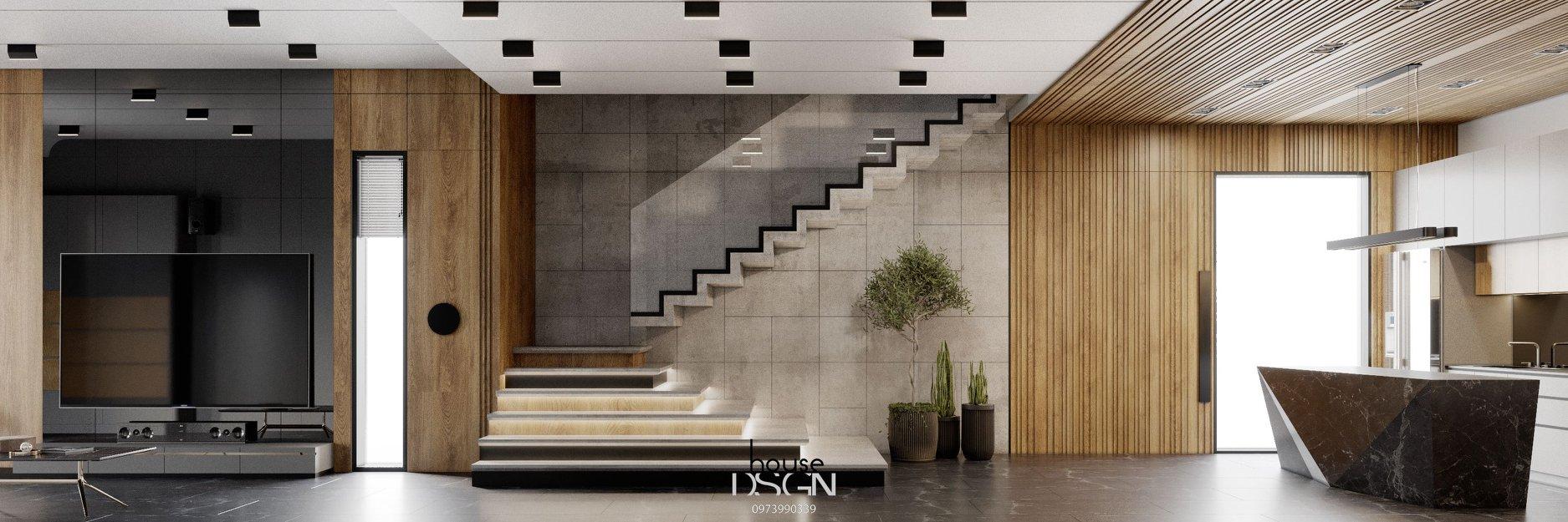 trang tri noi that phong khach co cau thang - Housedesign
