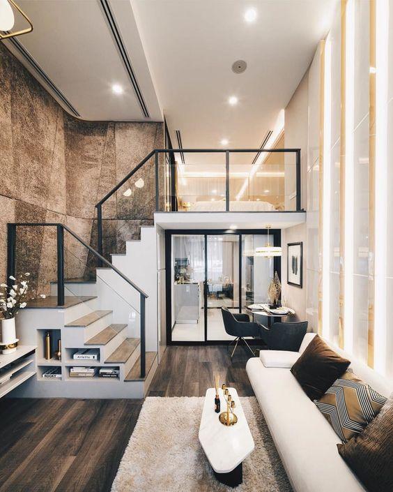 trang trí phòng khách nhà ống có cầu thang - Housedesign