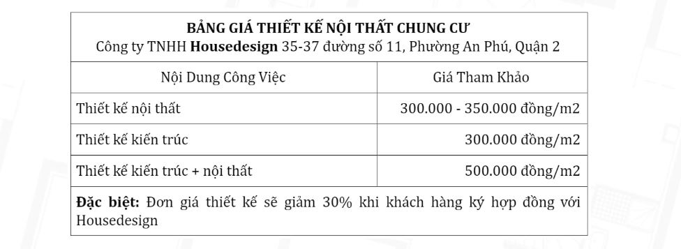bảng báo giá thiết kế nội thất chung cư 70m2