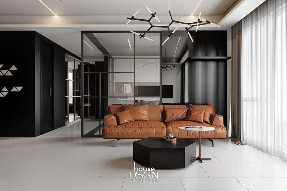 Không gian phòng khách nhà 70m2