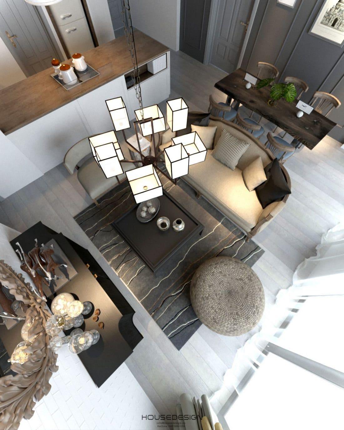 Mẫu thiết kế phòng khách căn hộ 70m2