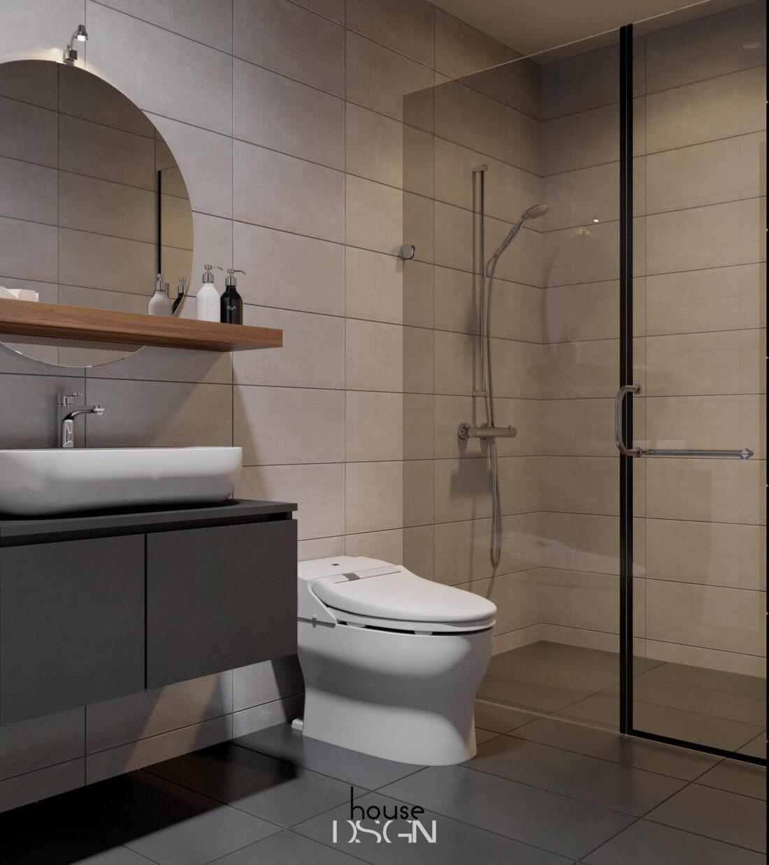 nhà vệ sinh trong thiết kế nội thất căn hộ 2 phòng ngủ