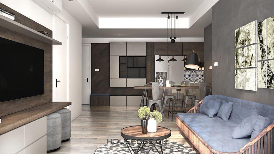 Phòng khách chung cư căn hộ 70m2