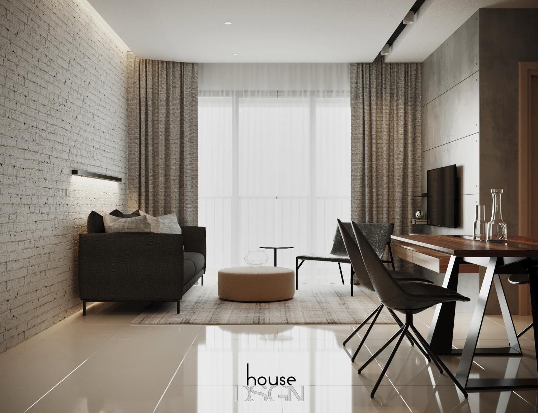 Phòng khách đơn giản nhà 70m2