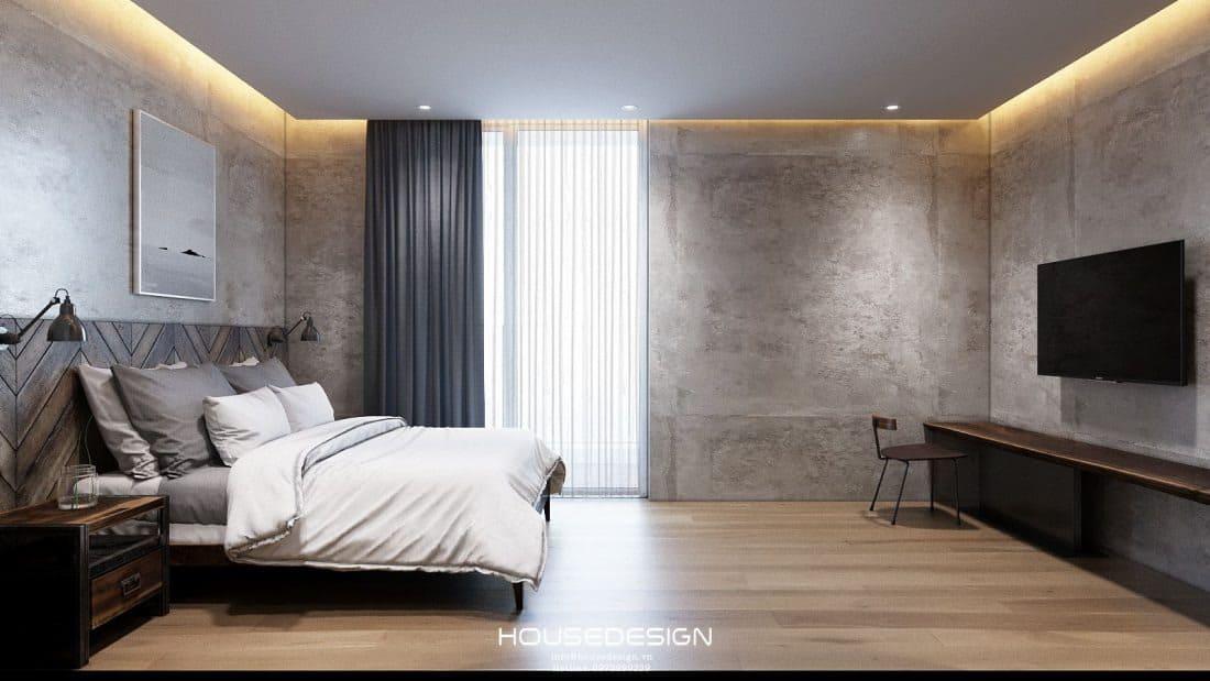 thiết kế phòng ngủ đơn giản với tông màu trầm