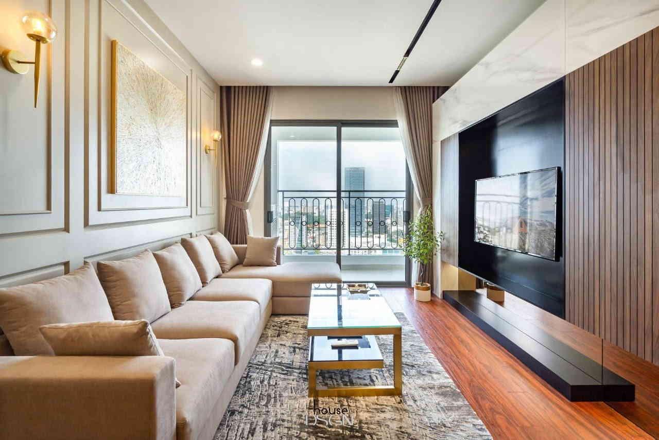 phòng khách nổi bật trong căn hộ chung cư