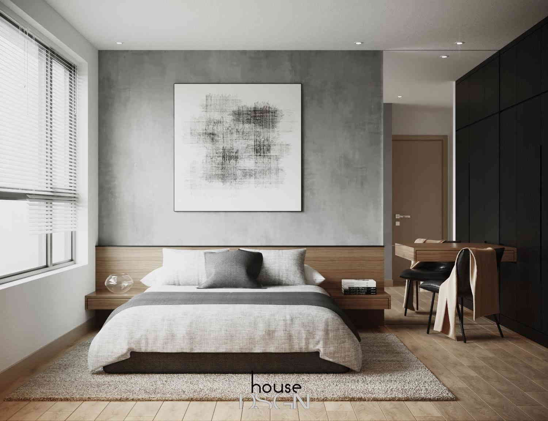 phòng ngủ thiết kế với tông trắng xám