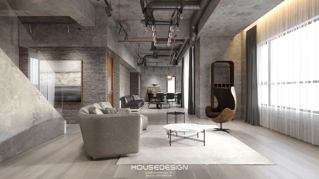 thiết kế nội thất căn hộ 2 phòng ngủ với phòng khách sang trọng hiện đại