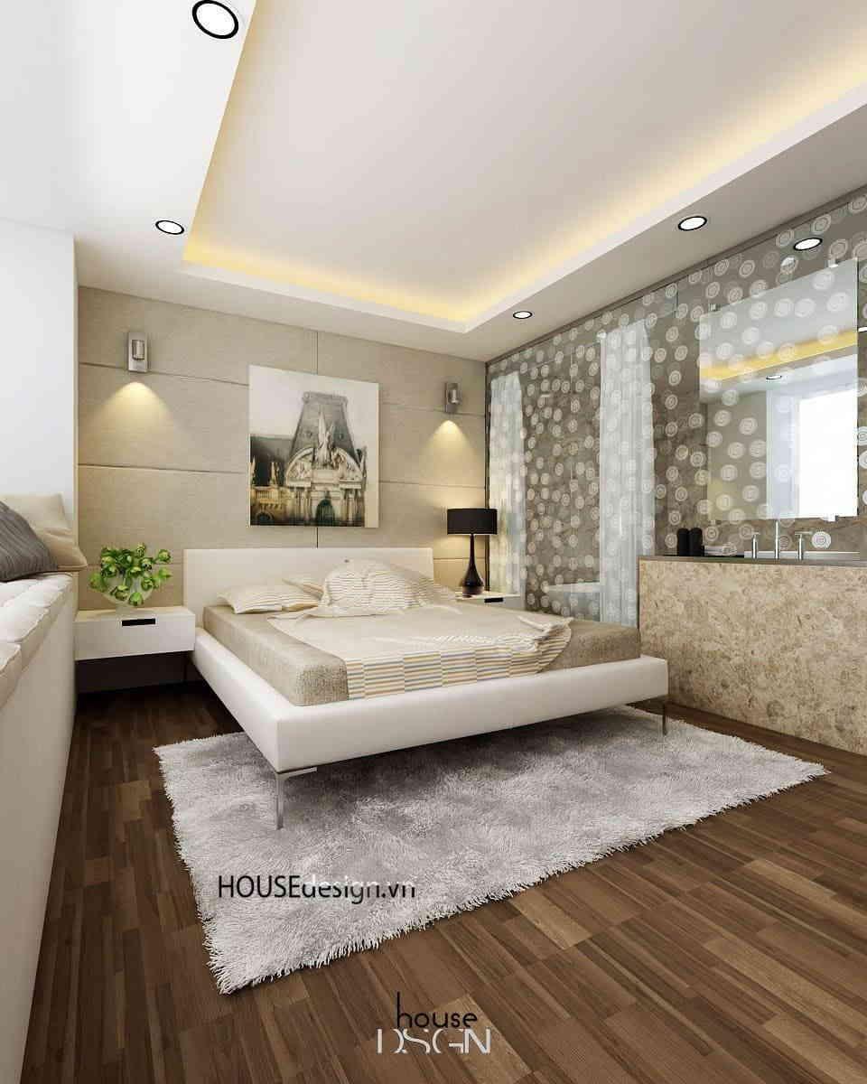 nội thất phòng ngủ sang trọng với tông màu trắng