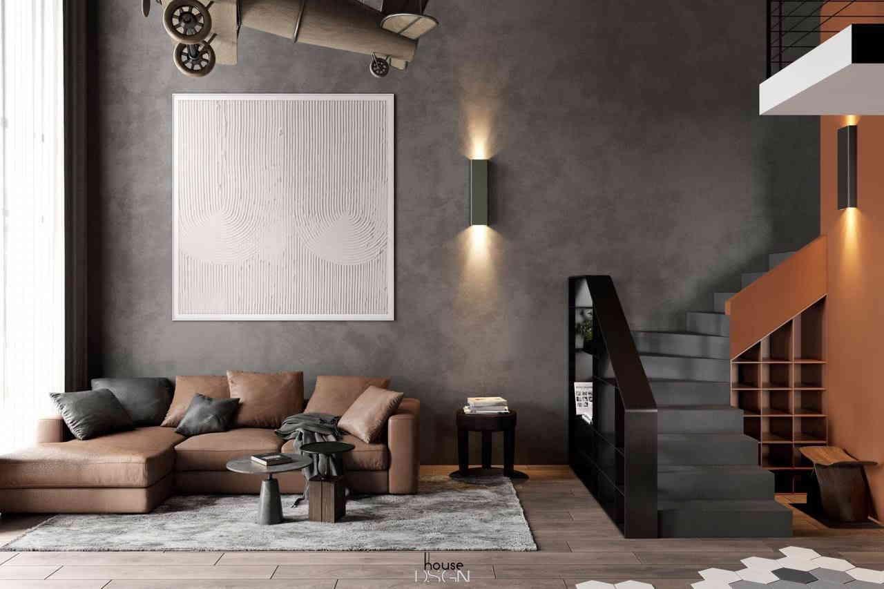 phòng khách với nội thất thiết kế ấn tượng
