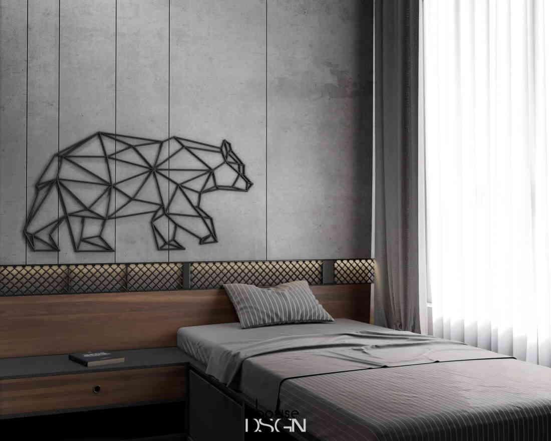phòng ngủ với nội thất thiết kế tone màu xám