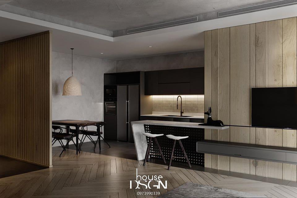 Phòng bếp với nội thất khá đơn giản