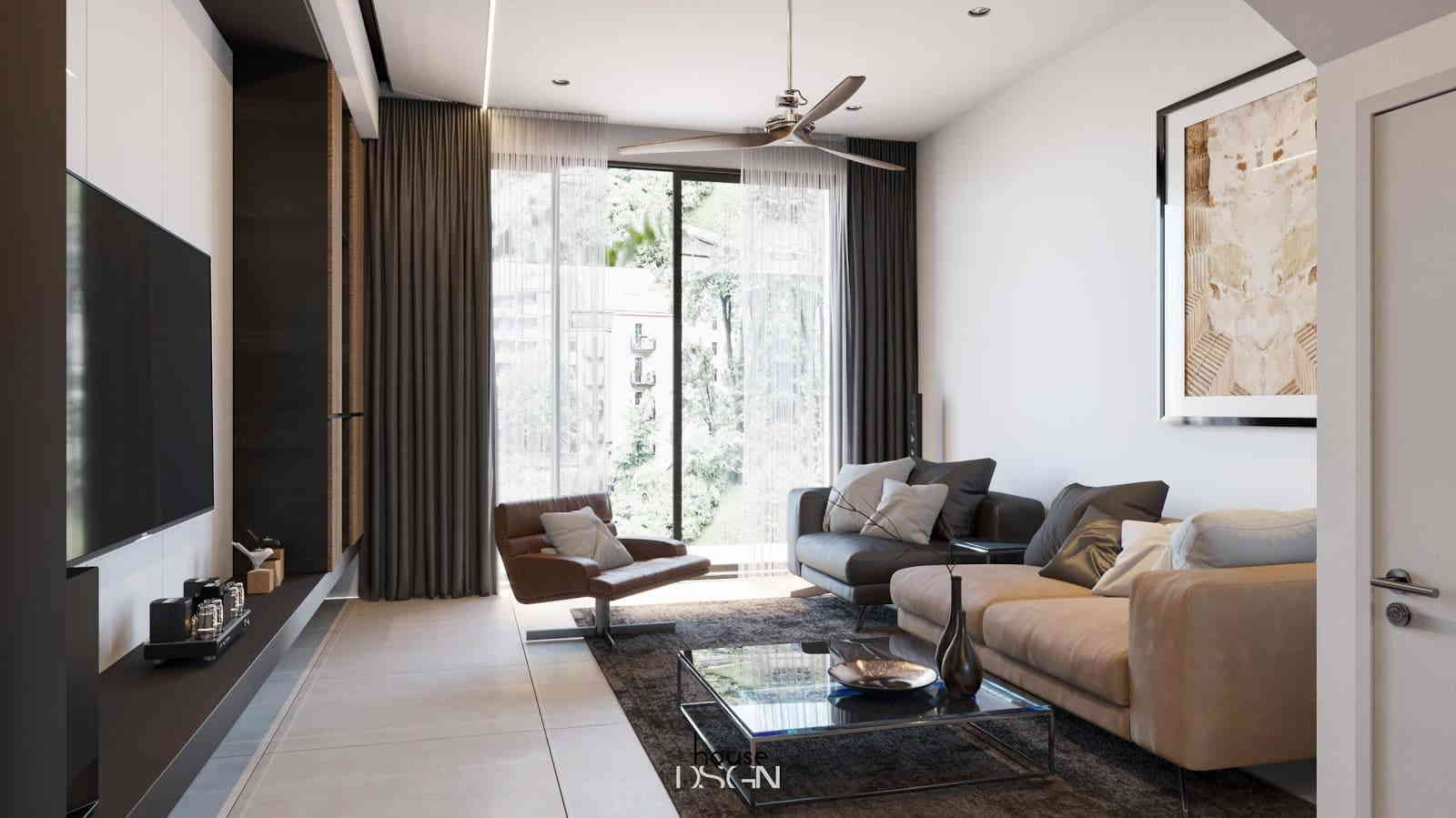 phòng khách với sofa cách điệu