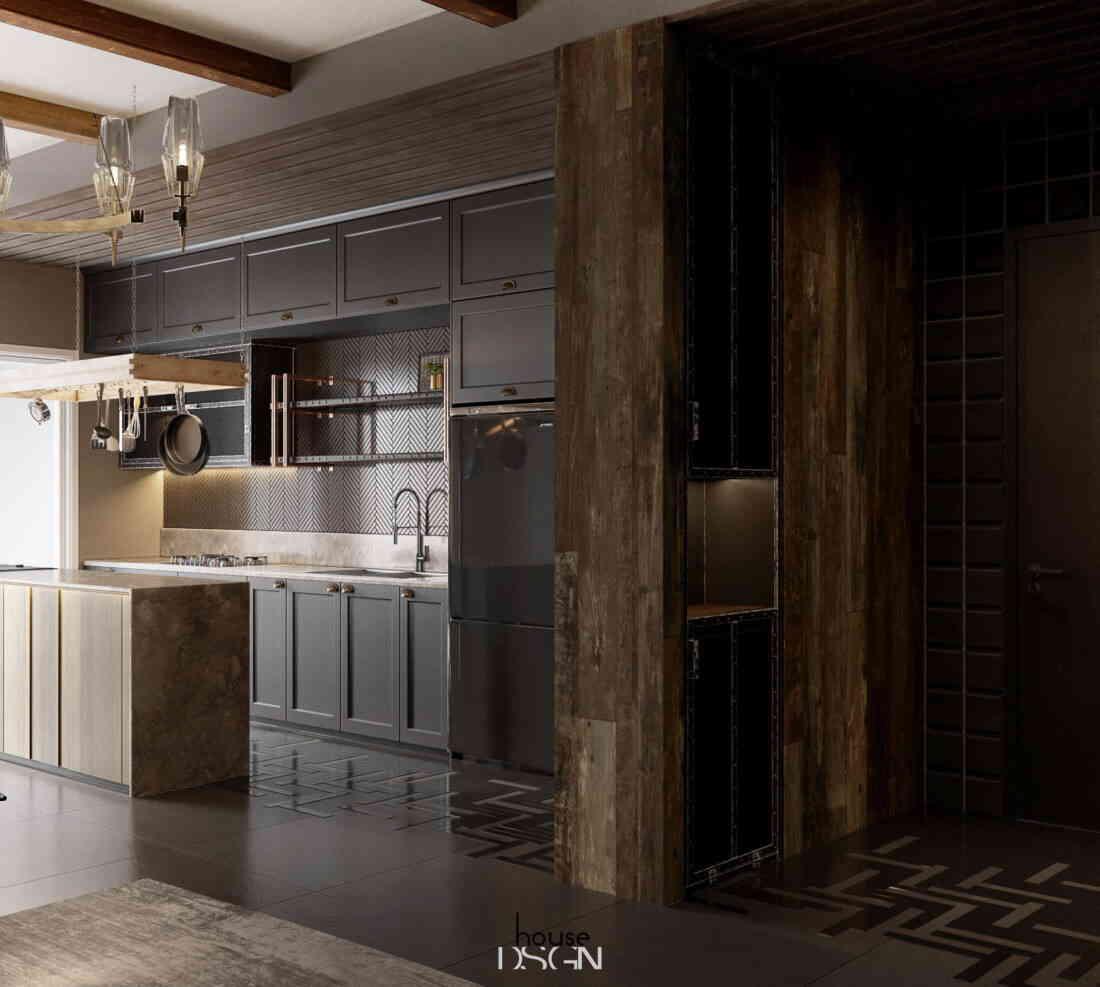khu vực bếp liên thông với phòng khách