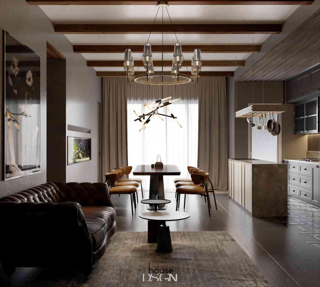 phòng khách cuốn hút với thiết kế độc đáo