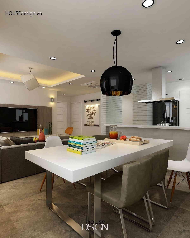 phòng bếp với bàn ăn được thiết kế độc đáo