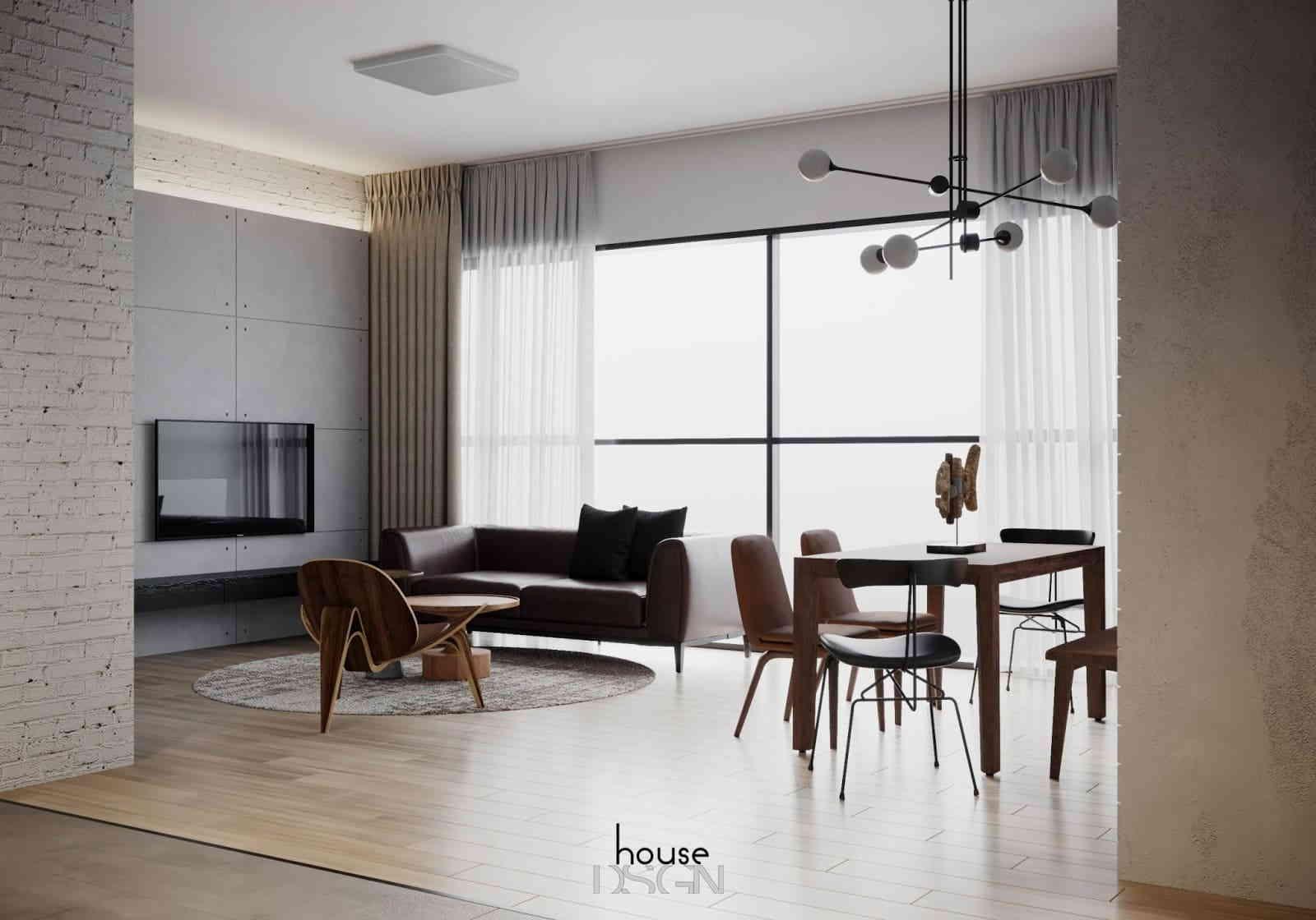 phòng khách với thiết kế đơn giản