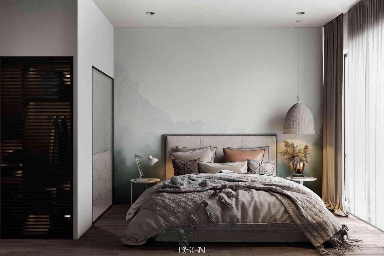 phòng ngủ với tone màu trắng và xám