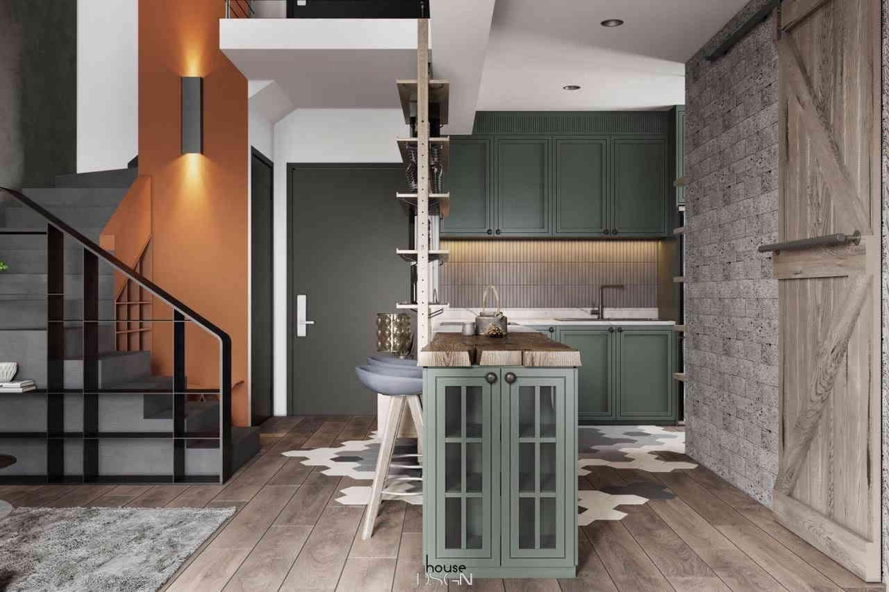 phòng bếp nhỏ với tone màu xanh chủ động