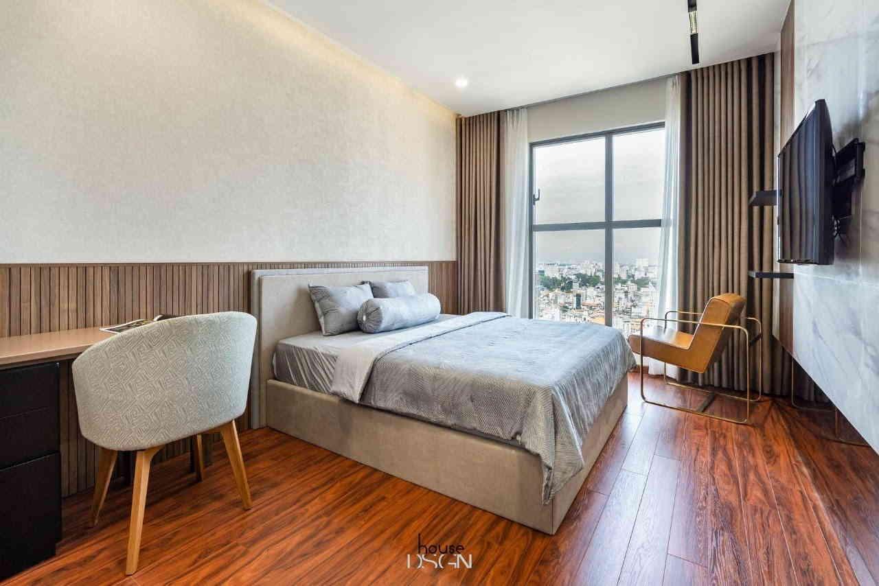 phòng ngủ với tone màu xám