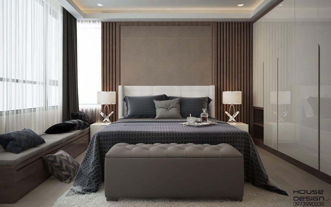 thiết kế phòng ngủ với gam màu sang trọng