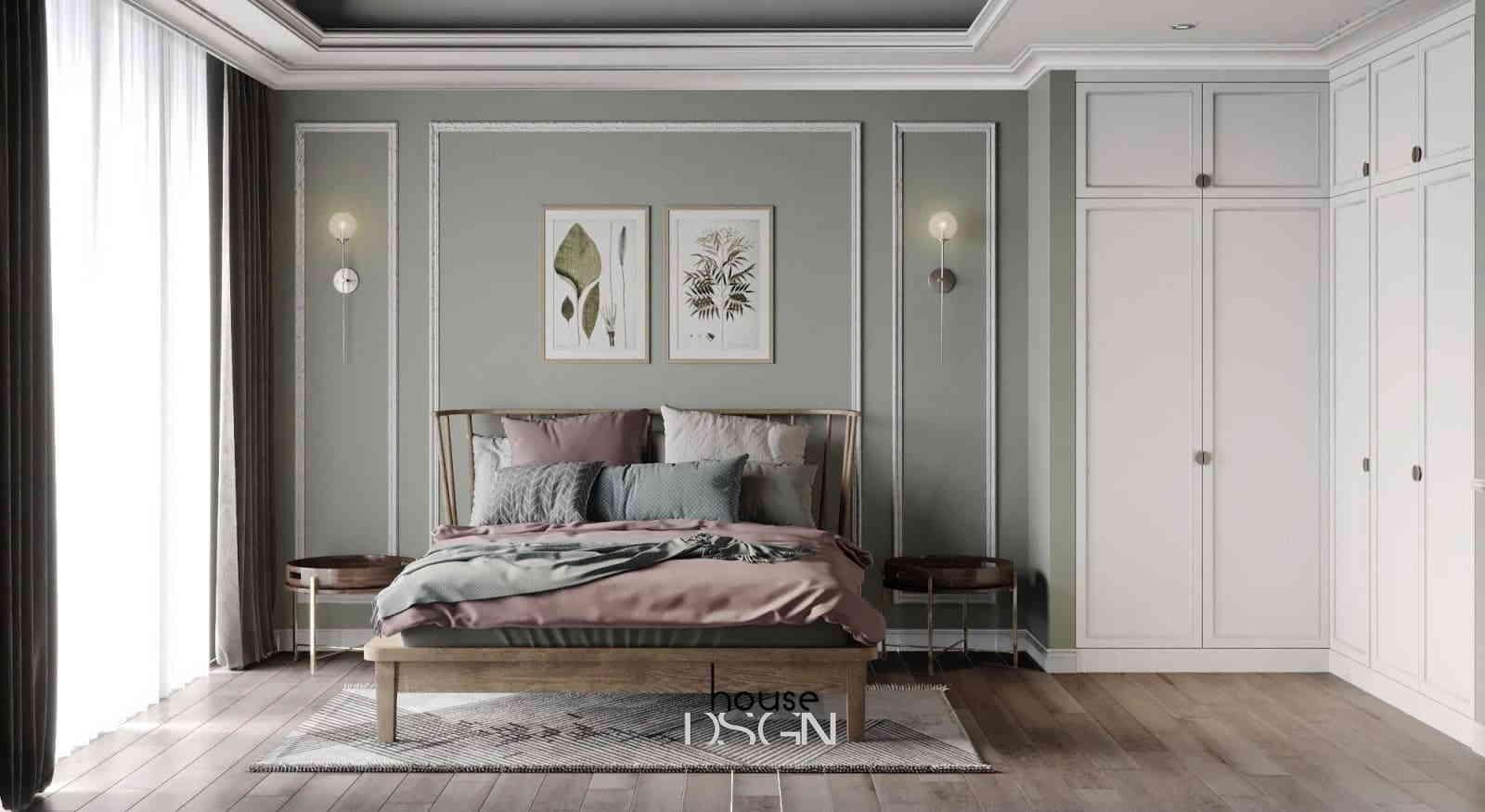 phòng ngủ với thiết kế theo phong cách xanh