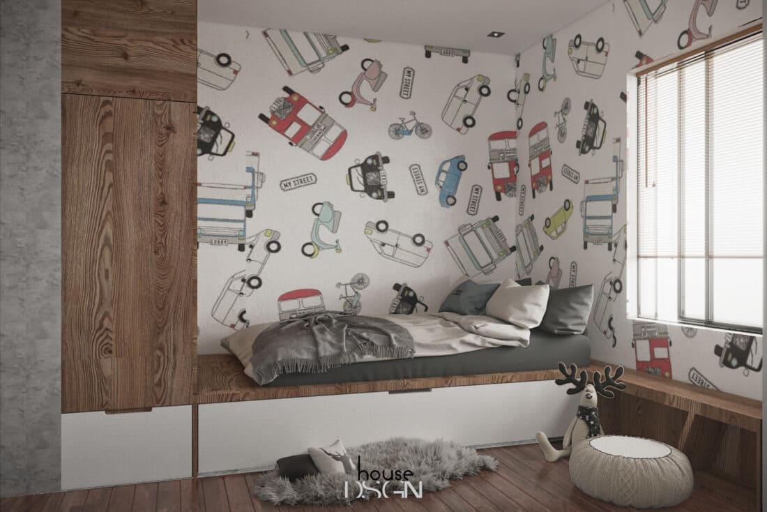 phòng ngủ cho bé trai trong thiết kế căn hộ 2 phòng ngủ