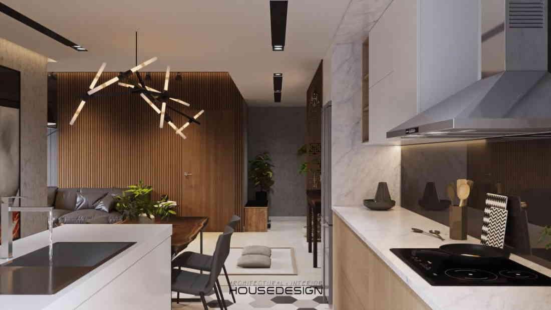 thiết kế nội thất căn hộ chung cư với phòng bếp sang trọng
