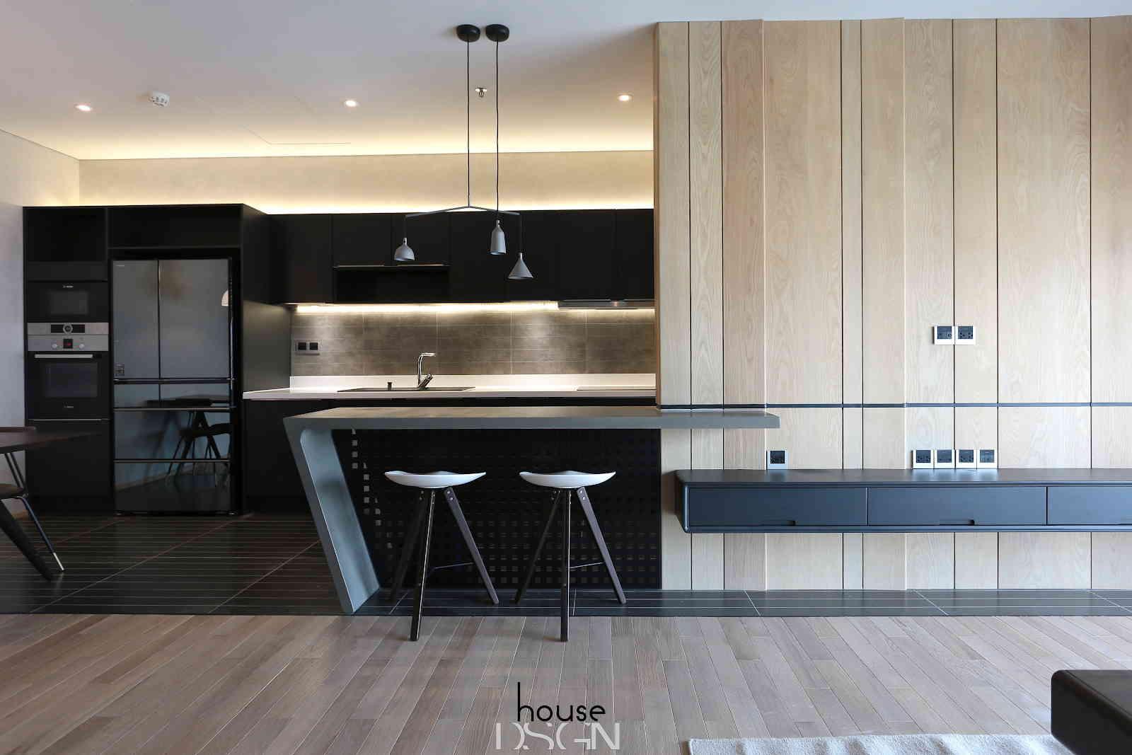 thiết kế phòng bếp căn hộ chung cư 90m2