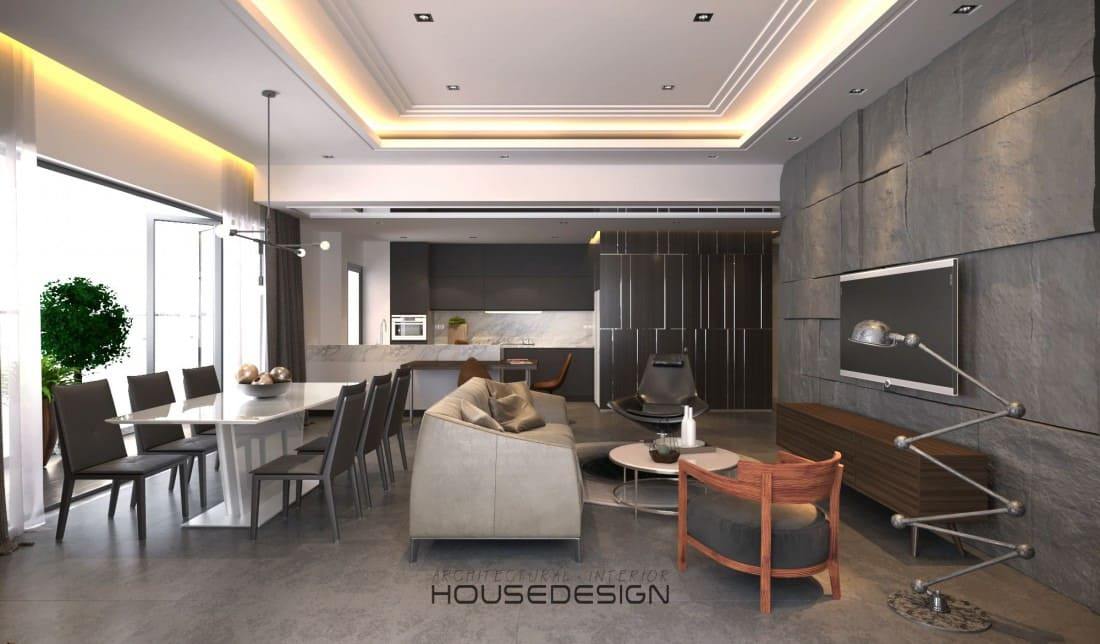 phòng khách được thiết kế vói tông màu trầm ấm