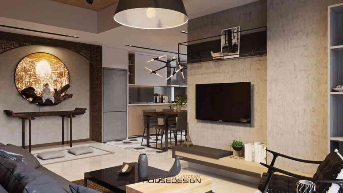 thiết kế nội thất phòng khách sáng màu